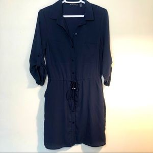 Black Tape Navy Blue shirtdress with cinched waist and 3/4 length sleeves